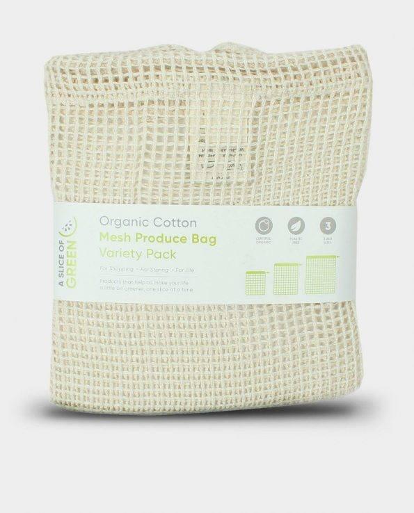 Alma de Alecrim - Loja Online - Saco de rede em algodão orgânico - pack 3 tamanhos